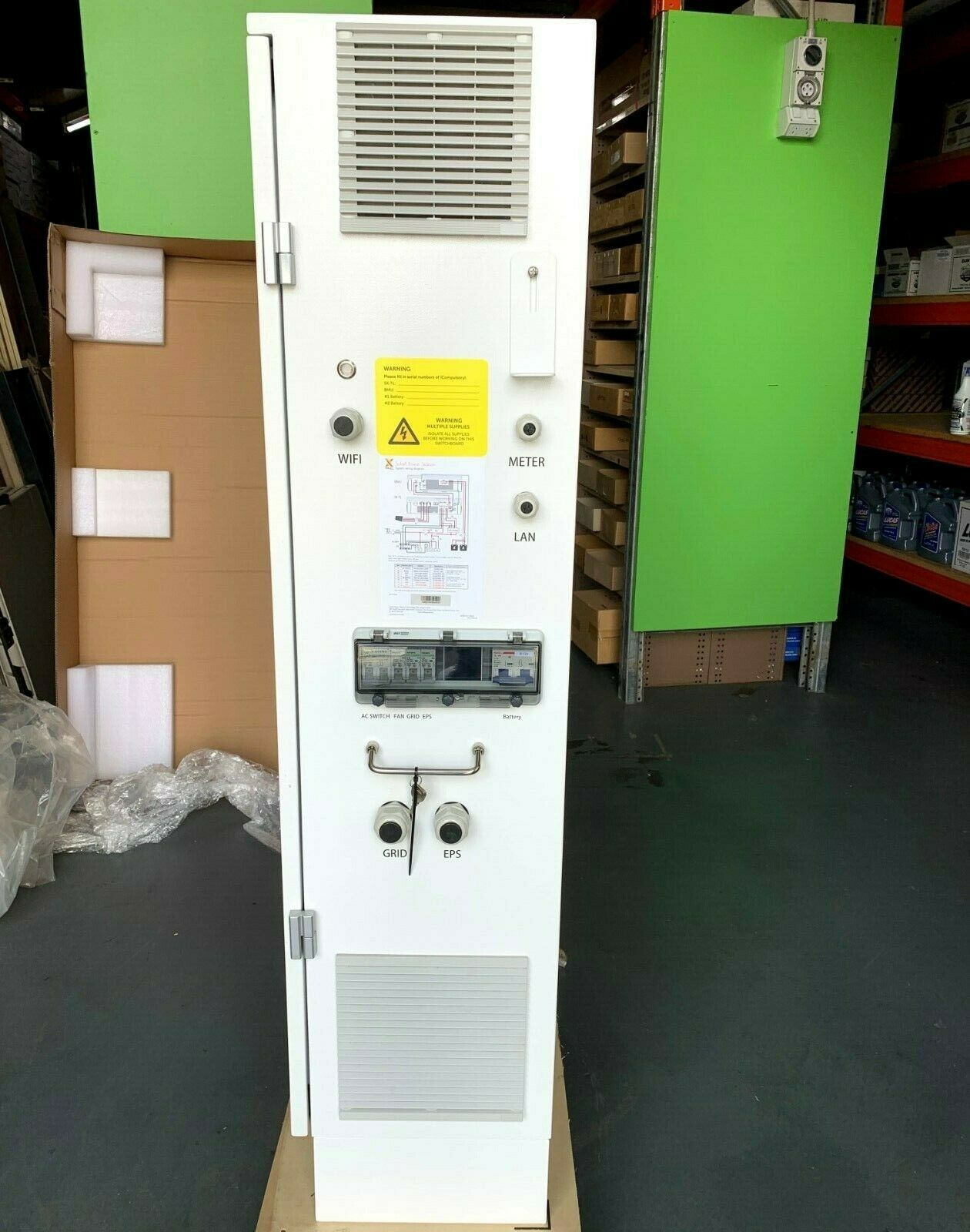 Solar Battery Storage Cabinet Lockable Solax Brand Built In Fans Pre Wired Mj Products