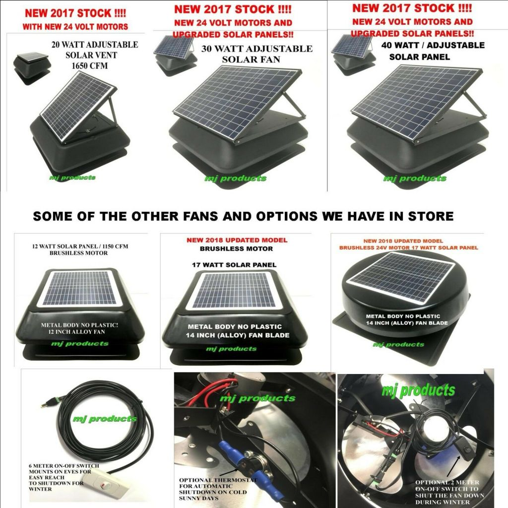 Solar Roof Vent Exhaust Fan Ventilator Extractor Ventilation 17 Watt Solar Panel With 28deg Thermostat Mj Products